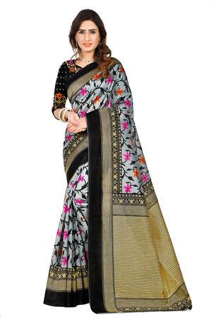 SVB Floral Print Mysore Silk Saree