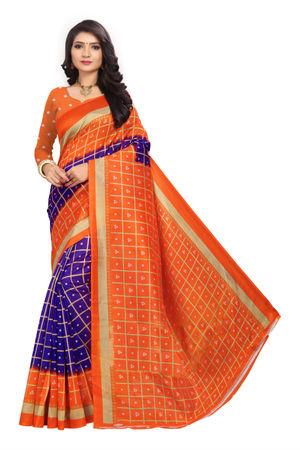 SVB Mysore Silk Checkered Printed Saree