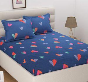 MORADO Blue Heart Print Double Bedsheet Set