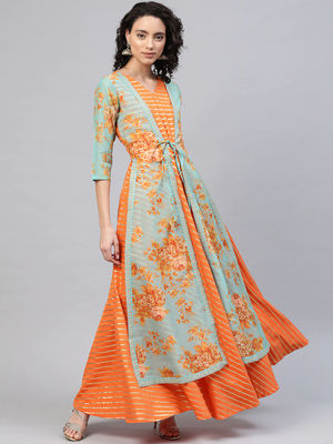 Ahalyaa Orange & Gold Ethnic Kurta Dress