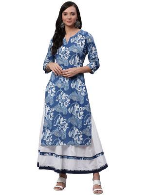 Divena Blue Printed Kurta - Skirt Set