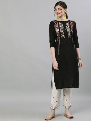 Ishin Women's Cotton Black & Off White Embroidered Straight Kurta Trouser Set
