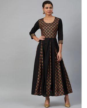 Meeranshi Black Cotton Printed Anarkali kurta