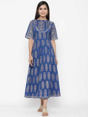Maaesa Blue Printed Cotton Anarkali Kurta