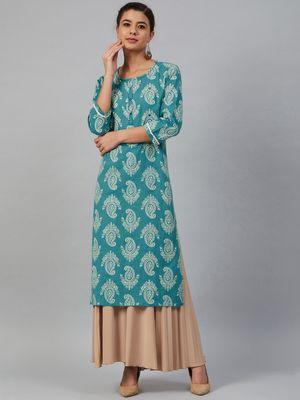 Meeranshi Women Blue & Off-White Printed Straight Kurta