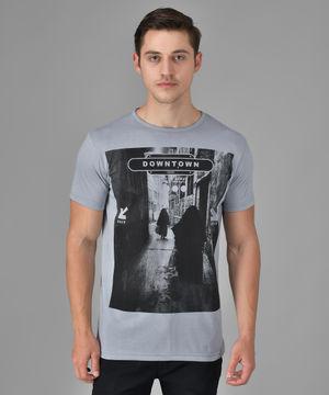 Stylogue Grey Down Town Printed Tshirts