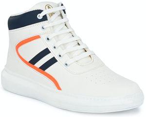 Afrojack Stylish High Top  Shoes-m1212-white