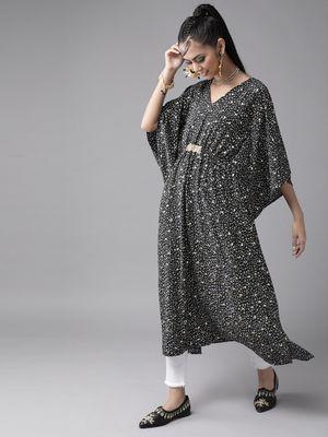 Ahalyaa Black & White Printed Flared Sleeves Kaftan Kurta