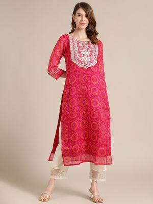 KSUT Pink Bandhej Kurta With Zari Embellished Yoke Embroidery And 3/4Th Sleeves.