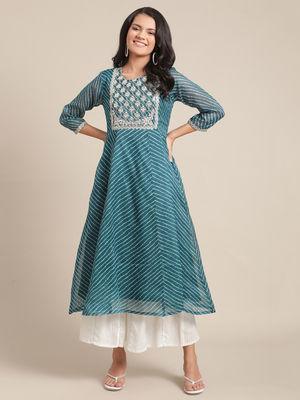KSUT sea green kota doria leheriya kurta with gota patti embroidery on yoke and sleeves.