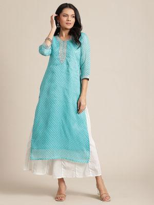KSUT sky blue leheriya printed kurta with gota patti,sequins and zari embroidery on yoke.