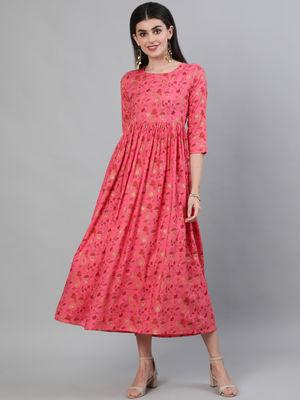 GULMOHAR Pink Floral Women Printed Rayon 3/4 Sleeve Round Neck Flared Calf Length Kurta Dress