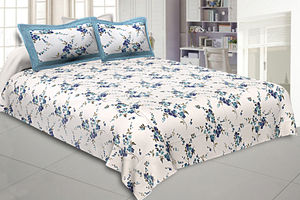 Jaipur Fabric Pure Cotton 240 TC Double bedsheet in blue motif floral print