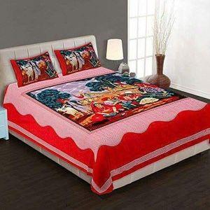 Red Folk Print Pure Cotton Jaipuri Double Bedsheet