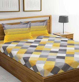 MORADO Yellow Big Checks Print Pure Cotton Double Bedsheet