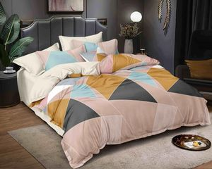 Vinay Handloom Peach Geometric Print Single Bedsheet with 2 Pillow Covers (60 X 90 inches)