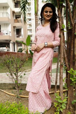 Shikha's Senyora Block Print Pink Kurta Sharara Set
