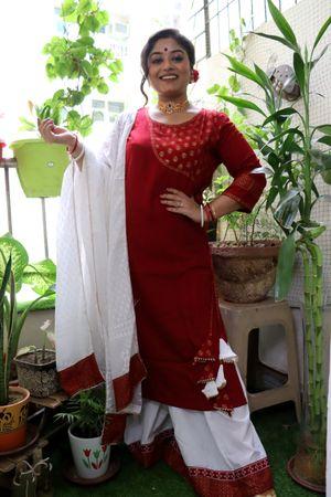 Vaishali's Senyora Maroon Angrakha Kurti with Bottom & Dupatta